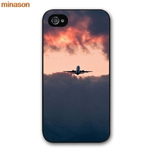 minason Plane With Sunset Glow Theme Cover case for iphone 4 4s 5 5s 5c 6 6s 7 8 plus samsung galaxy S5 S6 Note 2 3 4 D4007(China)