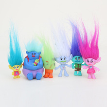 6Pcs/Set Trolls Action Figure Play Set Movie Cartoon Magic Long Hair Dolls Toys Kids New in OPP Bag