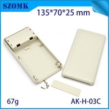 10 pcs, plastic case handheld enclosure project box abs control box 2x AA battery holder plastic box for electronics 135*70*25mm