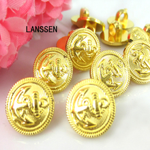 "100pcs 1/2"" Gold Anchor Buttons Plastic Sewing Buttons Fit Sewing Craft 13.0mm Gold buttons"