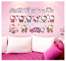 3d Wall Sticker Children's Background Wall Decoration Stickers Stickers For Hello Kitty Kitty Df9908 Kindergarten(China)