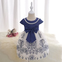 Dressnomore Girls Evening Dress 2017 Girls Chiffon Dress Bow tie Dresses Style Floral Print Party Dresses For Girls 2-8y