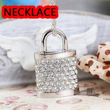 U Disk Flash Disk Crystal Lock 64GB 32GB 16GB 8GB Jewelry Usb Flash Drive Jewelry Usb Memory Pen Driver Gifts Gadget Pendrive(China)