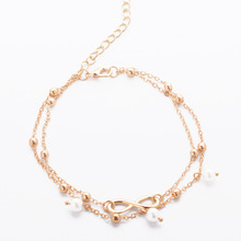 Fashion Letter Infinity Anklet Bracelet Imitation Pearl Multilayer Chain Ankle Braclet For Women Foot Chain Cheville Femme(China)