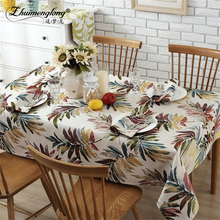 Zhuimenglong Thick Cotton Table Cloth Fresh Leaf Flower Fashion Home Drape Factory Outlets American Country Style Tablecloth(China)