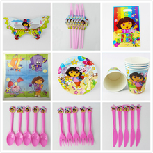 116pcs/58pcs Luxury Dora theme Baby birthday party set plate cup&napkin tablecloth favor gift for Kids Event Party Supplies
