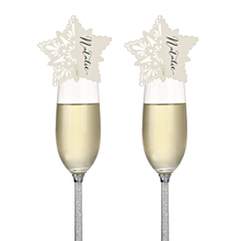 120PCS/lot Laser Cut White Star Paper Wine Golet Glass Cup Cards Escort Card Party Wedding Invitations Christmas Favors Decor