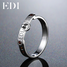 EDI Genuine Natural Garnet Ring 925 Sterling Silver DIY Name Rings For Women Gemstone Customized Fine Jewelry Band(China)