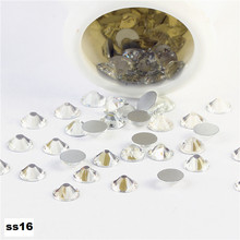 Best ss16 3.8-4.0mm 1440pcs/pack Flat Back Crystal Clear( Nail Art decorations ) Non Hot Fix Glue on rhinestones for nails