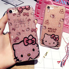 For KT Cartoon Phone Silicone Case For iPhone6 6S HELLO KITTY Plastic Back Covers Soft Protective Shell KT Cases For iPhone6plus(China)
