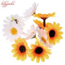 100pcs/lot 4cm Mini Silk Sunflower Artificial Flowers Head Wedding Decoration DIY Wreath Scrapbooking For Craft Fake Flowers