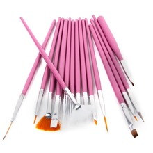 15Pcs Drawing Painting Brush Pink Nail Art Polish Dotting Tools Set Supplies