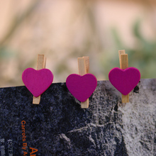 50PCS New Cute Nice Mini Hearts DIY Wooden Pegs Photo Clips Wedding Party Room Decor Gifts