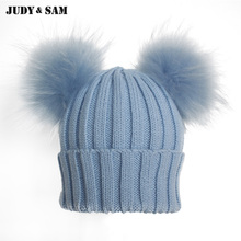 Winter Beanie Hat with Big Fluffy Raccoon Fur Pom Poms(China)