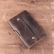 Paperboat Vintage Logo Custom A5 A6 Notebook Genuine Leather Diary Planner Rings Office Diary Spiral Travelers Writing pad