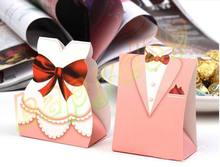 10pcs Bridal Gift Cases pink Groom Tuxedo Dress Gown Wedding Favor Candy Box Creative Sweets Candy Packaging party gift hold bag