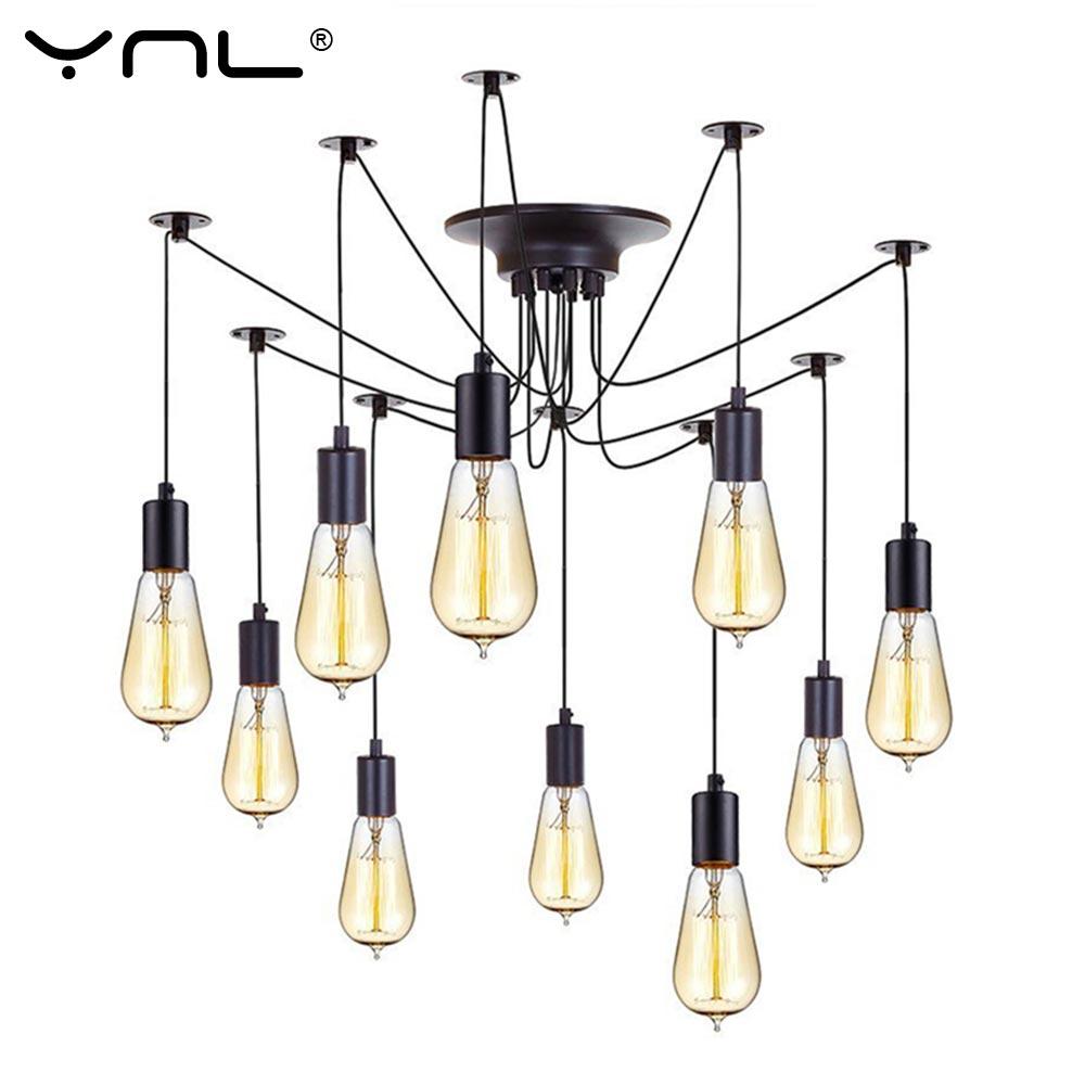 YNL Modern Nordic Retro Edison Bulb E27 2 meters Line Vintage lamps Antique DIY Art Spider Pendant Lights Home suspension<br>