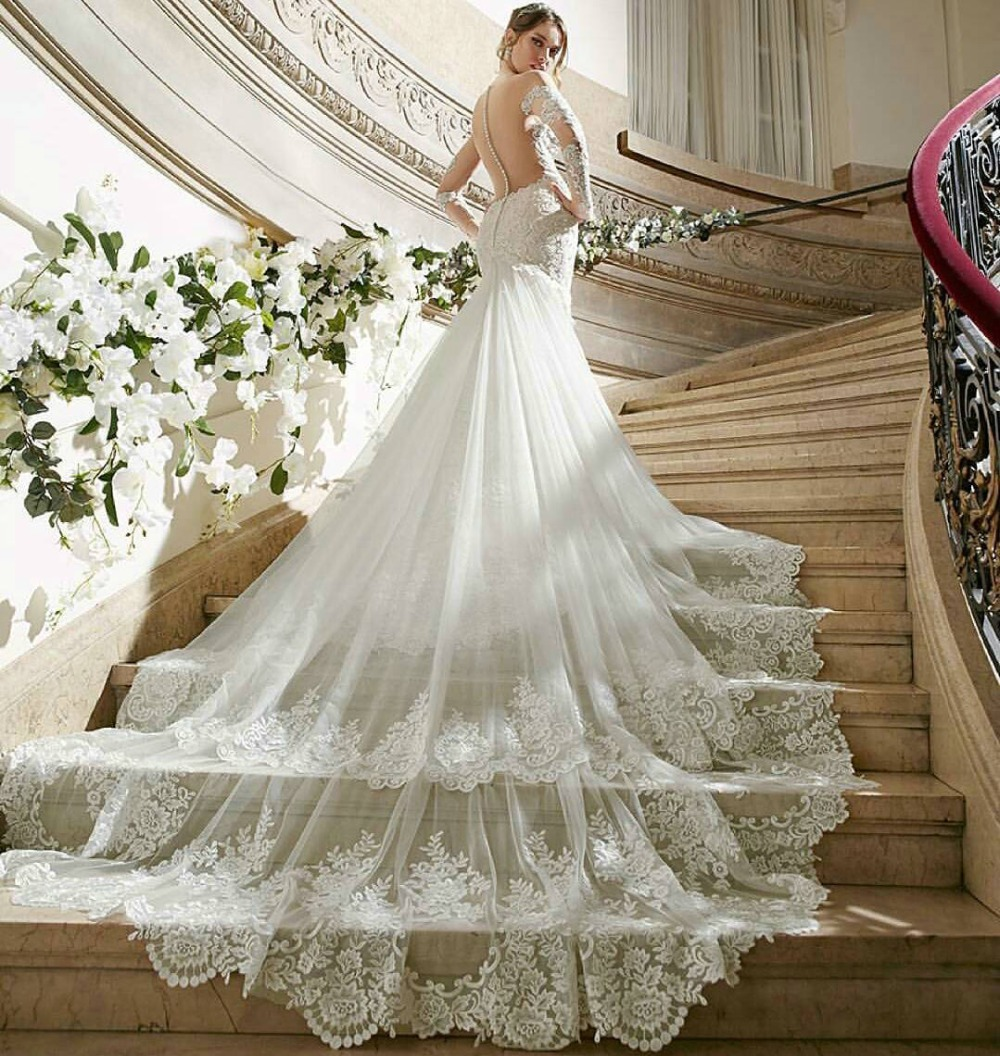 luxury lace wedding dresses royal cathedral train sexy bridal dresses backless new arrival wedding gown with sheer long sleeve