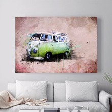 Bulli VW Bus Travelling Car Art Print Painting Poster Wall Pictures For Room Home Decoration Decor No Frame