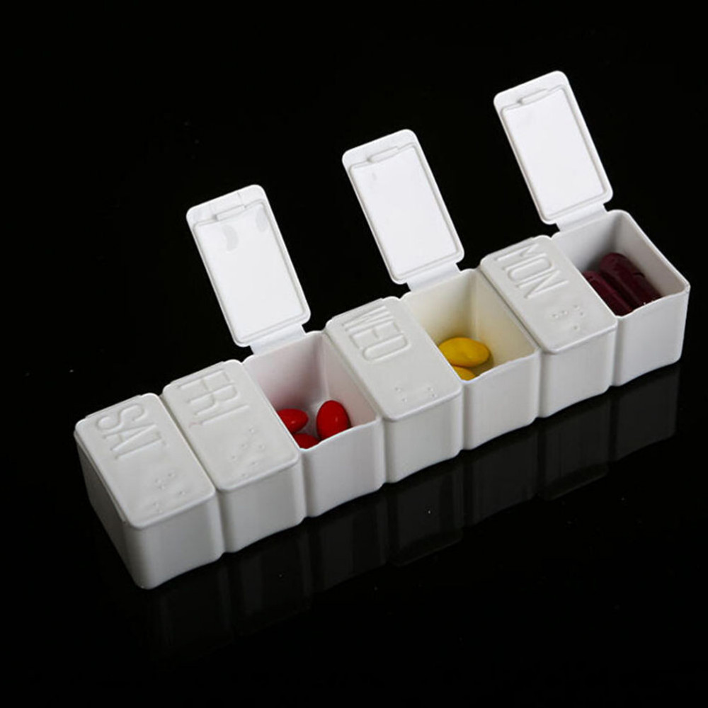 7Day Pill Box Plastic Medicine Case Storage Pill Tablet Organiz Contain Case Sort Folding Weekly Tablet Braille Recognit