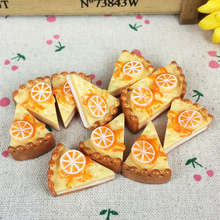 10Pieces Flat Back Resin Cabochon Lemon Artificial Cake Miniature Food Flatback Embellishment Accessories Scrapbooking:23*30mm(China)