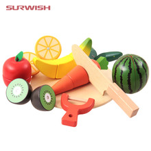 10Pcs/Set Children Wood Kitchen Toys Colorful Pretend Toys Educational Cut Toys for Kids Baby Fruit Vegetable cocina juguete(China)