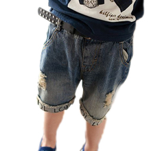 2-7T 2017 summer letter printed holes boys jeans short cotton kids clothing childrens shorts pants baby boy denim pants shorts