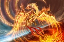 Canvas Poster artwork fantasy art dragon wings  of fire flame  AT044 Living Room home wall modern art decor
