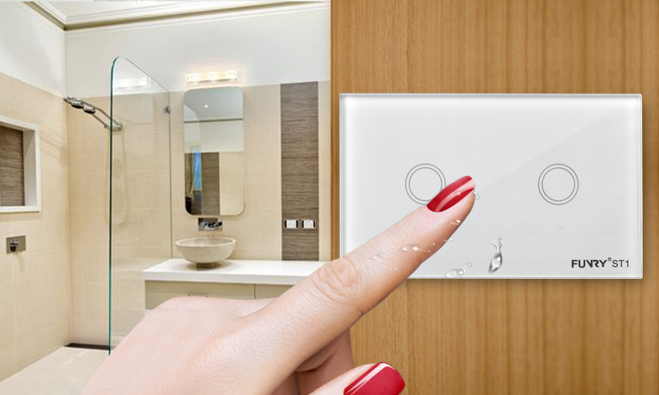 Wall Light Switch Smart Switch Remote Control/Touch Luxury Glass Switch 110-240V 433MHz Led Light Switch ST1-US Standard 2Gang