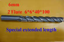 5pcs 6mm Two 2 Flute  HSS & Special extended length Aluminium End Mill Cutter CNC Bit Milling Machinery Cutting tools 6*6*40*100