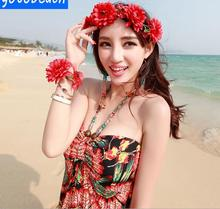 Headwear Seaside holiday pictures bohemian simulation flowers garland headband headdress bracelet beach dress accessories