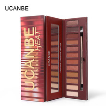 UCANBE Molten Rock Heat Eyeshadow Palette 12 Color Matte Shimmer Eyeshadow Nude Natural Mineral Warm Red Smoky Makeup with Brush(China)