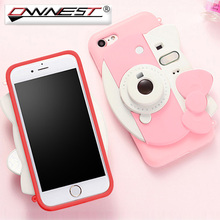 Ownest Cute 3D Hello Kitty Phone Case For iPhone 6s Plus 7 Plus Cartoon Flash Light Self-timer Silicone TPU Camera back Cover