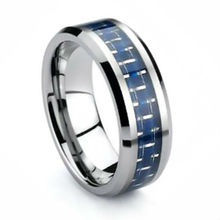 Men'sTungsten Carbide Ring w/ Blue Carbon Fiber Wedding Band Size 6 - 11.5 (#NR05LC)(China)