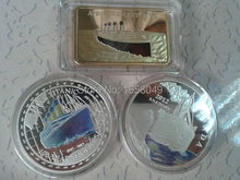 Sample order Mix3/lot Titanic series of Fine Silver/Gold Clad Royal Mail Steamship Titanic Coin/Bullion Bar(China)