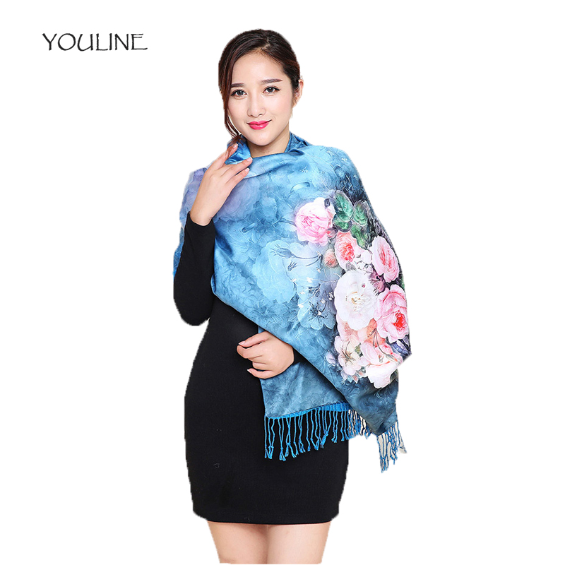 YOULINE Luxury Brand New Scarf For Women Silk Pashmina Silkworm Silk Scarves National style Printed Stole Shawls Scarves S17504