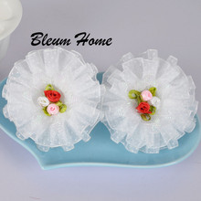 4pcs girl kids bows Satin Ribbon white silk flower Bow Hair Bands Rope Scrunchie Ponytail Holder Hot hair ornaments Accessories(China)