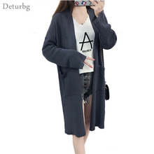 Womens New Harajuku Style Long Sweater Female Casual Open Stitch Big Pockets Loose Cardigan Knitted Cape Casaco 2017 Autumn SW74