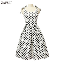ZAFUL Women Cotton stretchy Rockabilly Dress 50s 60s Audrey Retro dress Ball Gown feminido Vestidos Party Prom bowknot Swing
