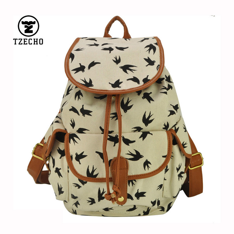 TZECHO Hot Sale Bird Printing Backpack Women Casual Canvas Backpack Autumn And Winter Shoulder Bags School Bags for Teenagers<br><br>Aliexpress