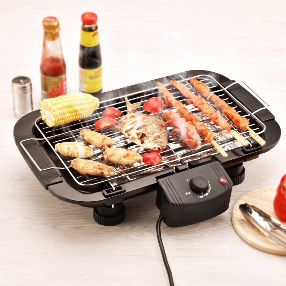 Household Electric Barbecue Grill Cooking Broiler Garden Black Smokeless BBQ Indoor Grill Electric Pan Grill BBQ Grill(China (Mainland))