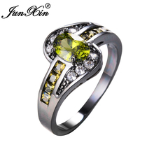 JUNXIN Female Peridot Oval Ring Fashion White & Black Gold Filled Jewelry Vintage Wedding Rings For Women Birthday Stone Gifts(China)