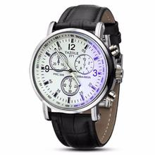 Erkek Kol Saati Reloj Hombres Relogio Masculino Gift 2PC Luxury Fashion Faux Leather MenWatch Blue Ray Glass Quartz Analog June6