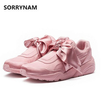 2017 Platform Espadrilles Woman Rihannas Casual Shoes Bow Ladies Flats Silk Moccasins Round Toe Shoes Luxury Brand Creeper Shoes