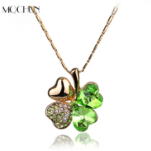 Free Shipping Charms Women Accessories Quality Gold Color Crystal Lover Four Leaf Leaves Clover Necklace Pendant Fashion Jewelry