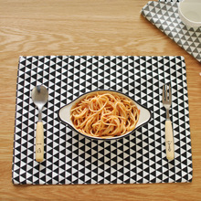 New Classic Design Black Geometric Pattern Printed Cotton Napkins Thick Meal Pads For Table Decoration(China)
