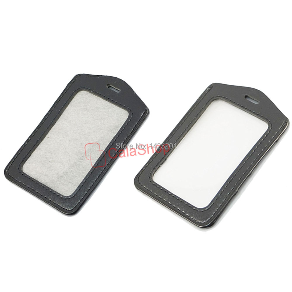 250 pcs lot leather business office vertical id card badge holder 250 pcs lot leather business office vertical id card badge holder with slot holes black clear black wholesale in storage bags from home garden on reheart Images