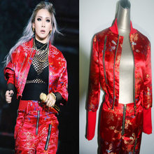 2016 New Year red dragon 2NE1CL with DS costumes nightclub singer Jazz Bar DJ stage outfit female costume sexy for singer dancer