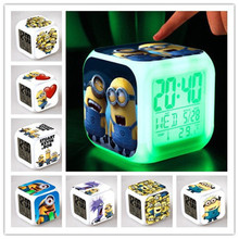 Color Changing LED Night Light Children Minions Glowing Backlight Cube Digtial Alarm Clock Kids Room LED Table Lamps Kids Toys