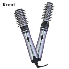 Kemei KM-8020 2 in 1 Hair Curler Ceramic Comb Hair Styling Tool Blow Dryer Curler Electric Rotating Hot Brush Curling Iron(China)